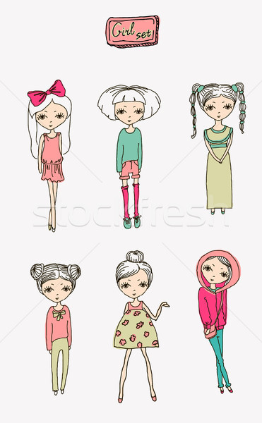 illustration vector teenage  girl set Stock photo © Mamziolzi