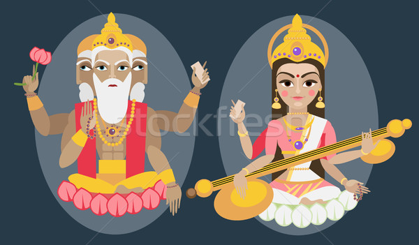 vector lord Brahma and Sarasvati devi Stock photo © Mamziolzi