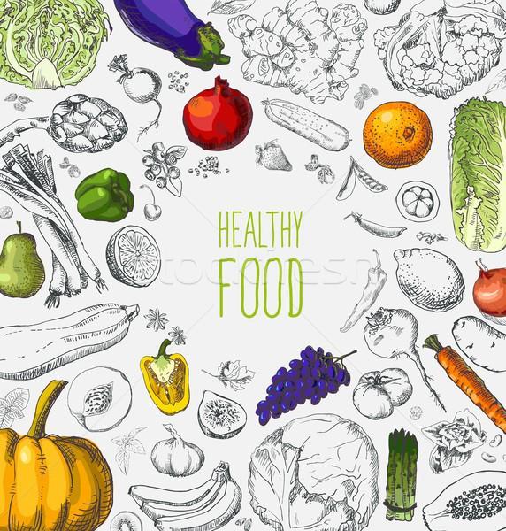 étterem organikus természetes vegan étel menü Stock fotó © Mamziolzi
