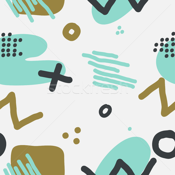 Stock photo: Modern hand draw abstract seamless pattern