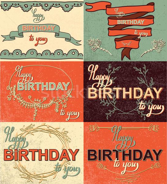 Stock photo: Set happy birthday hand lettering calligraphy