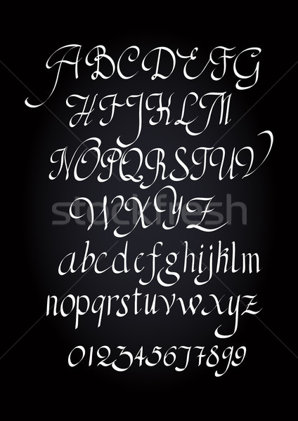 Stock photo: Alphabet letters lowercase, uppercase and numbers.