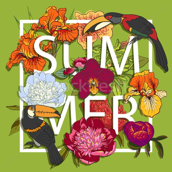 цветочный птиц любви графического дизайна красочный цветы Сток-фото © Mamziolzi