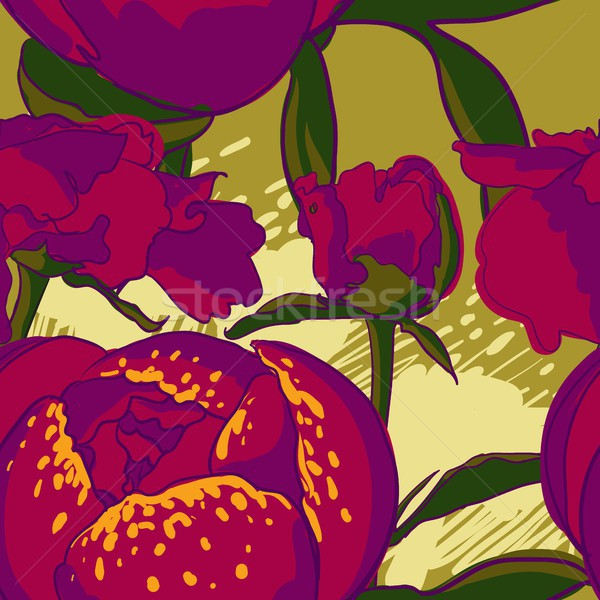 Seamless floral background with peonies  Stock photo © Mamziolzi