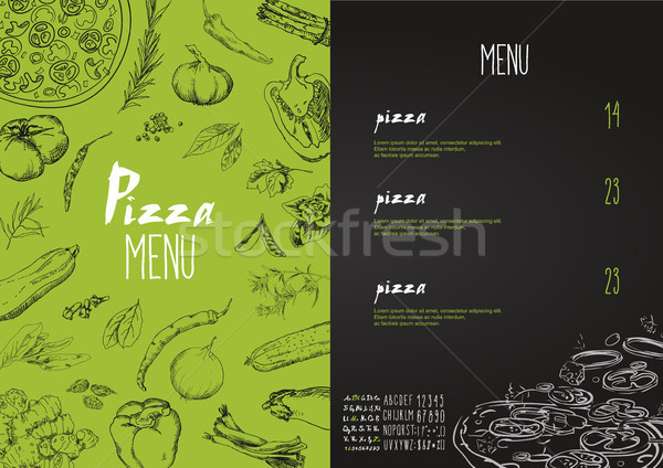 Pizza menu the names of dishes of Pizza, Vector set Stock photo © Mamziolzi