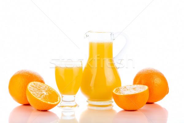 Sinaasappelsap sinaasappelen geïsoleerd witte vruchten drinken Stockfoto © manaemedia