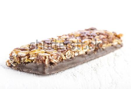 çikolata müsli çubuklar beyaz ahşap masa ahşap Stok fotoğraf © manaemedia