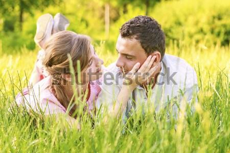 Park vrolijk jonge mooie paar Stockfoto © manaemedia