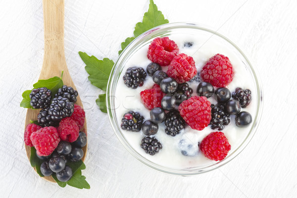 yogurt with forest berries in a bowl Stock photo © manaemedia