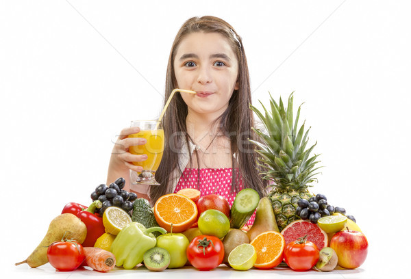 Little girl drinking orange juice Stock photo © manaemedia