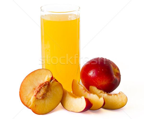 Perzik sap glas perziken rond voedsel Stockfoto © manaemedia