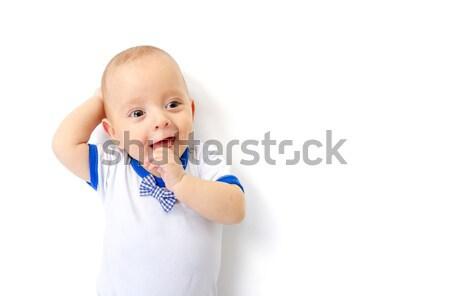 Baby jongen witte vloer kind home Stockfoto © manaemedia