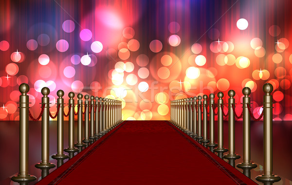 red carpet entrance with Multi Colored Light Burst Stock photo © manaemedia