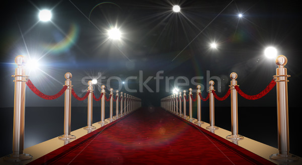 Red Carpet aur catifea corzi 3D Imagine de stoc © manaemedia
