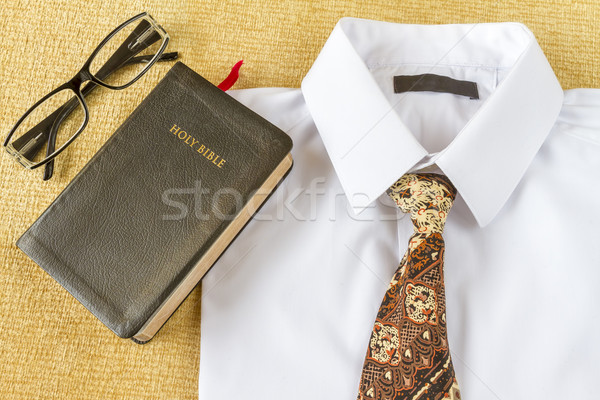 business man style clothes and Holy Bible at home Stock photo © manaemedia