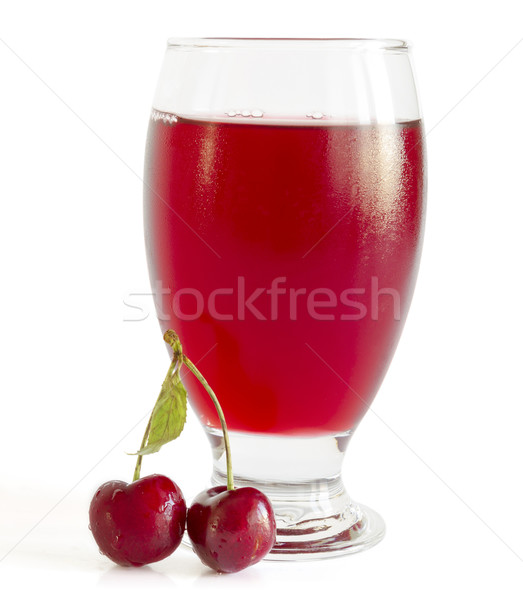Cereja suco fresco bebida fria branco líquido Foto stock © manaemedia