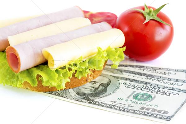 Coûteux sandwich argent pain Finance tomate Photo stock © manaemedia