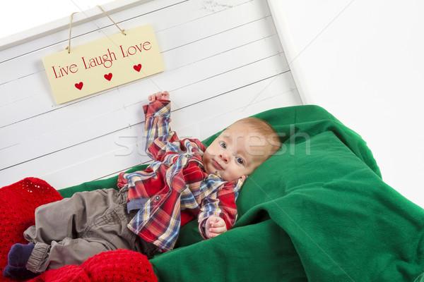 Christmas baby jongen portret witte geschenkdoos Stockfoto © manaemedia