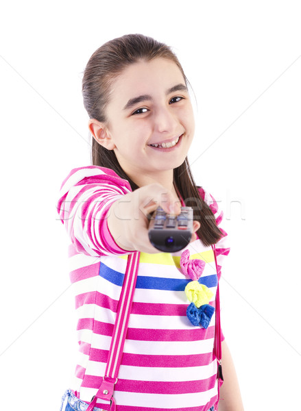 Gelukkig meisje kijken tv witte gezicht Stockfoto © manaemedia