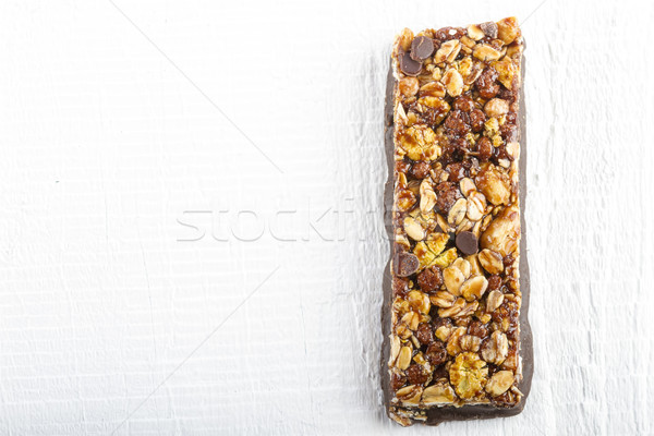 Chocolate Muesli Bars on white wooden  Stock photo © manaemedia