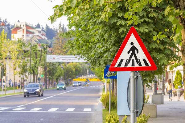warning sign for pedestrian crossing Stock photo © manaemedia