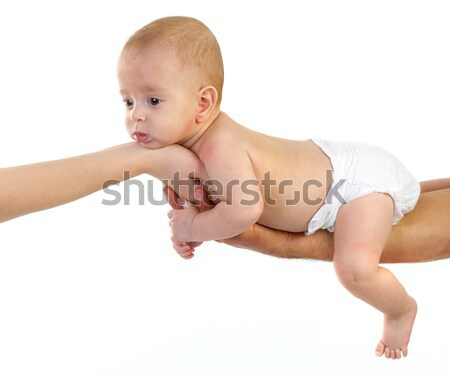 baby newborn on parents hands Stock photo © manaemedia
