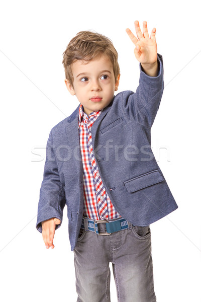 little boy with with his hand lifted up Stock photo © manaemedia