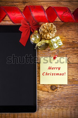 Christmas decoraties houten business wereldbol Stockfoto © manaemedia