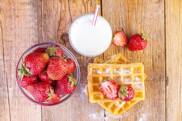 homemade waffles with strawberries  Stock photo © manaemedia