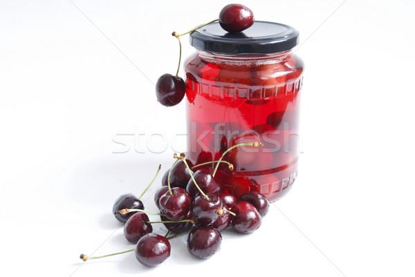 Bes jar Rood kers witte vruchten Stockfoto © manaemedia