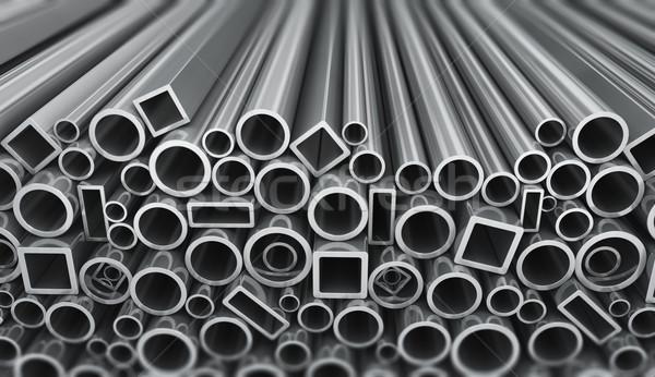Staal pijpen metaal profiel witte Stockfoto © manaemedia
