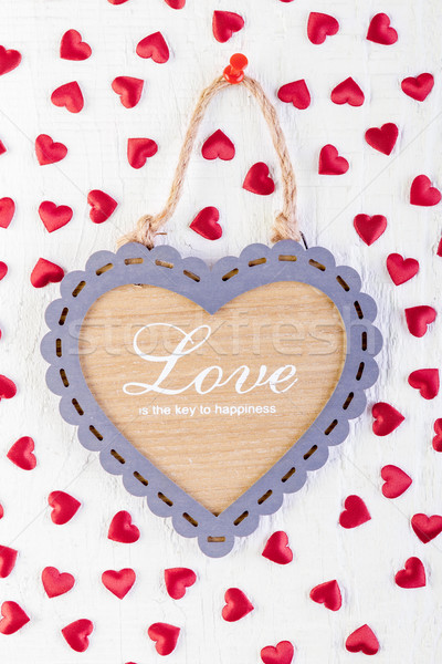 Love heart on wooden texture background Stock photo © manaemedia