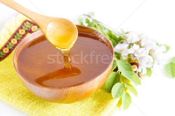 Honing houten kom voedsel groene diner Stockfoto © manaemedia