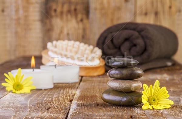 Basalt Steine spa Öl Kerzen Stock foto © manaemedia