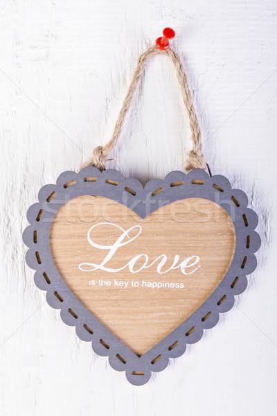 ストックフォト: 心臓の形態 · フレーム · 白 · 木材 · 中心 · 背景