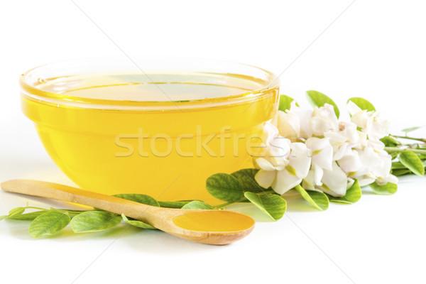Honing glas kom voedsel groene diner Stockfoto © manaemedia