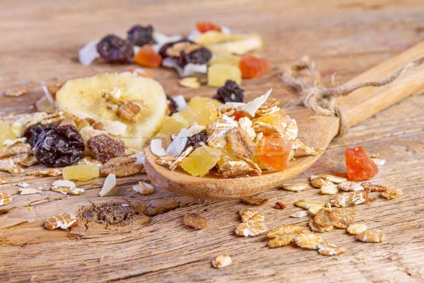 Cereales muesli alimentos cuchara de madera naturaleza Foto stock © manaemedia