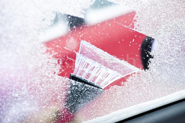 Schoonmaken auto Windows sneeuw ijs venster Stockfoto © manaemedia