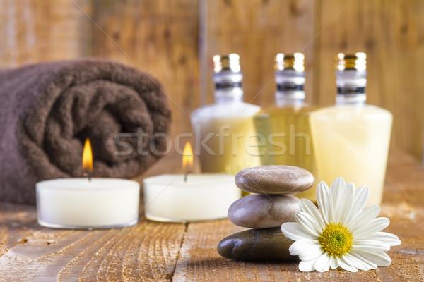 Zen базальт камней Spa нефть свечей Сток-фото © manaemedia