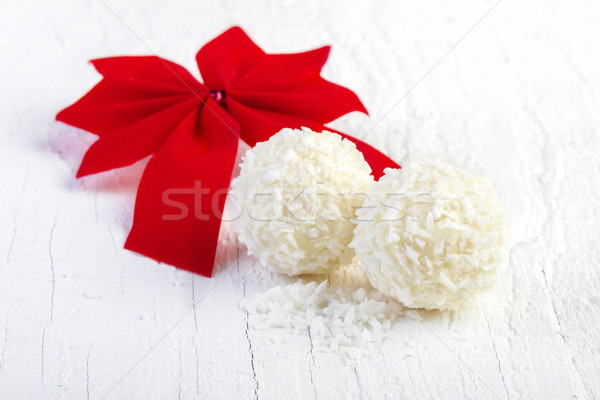Cocco palla di neve bianco cookies legno Foto d'archivio © manaemedia