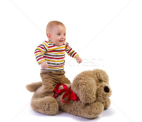 baby boy jump over plush dog Stock photo © manaemedia