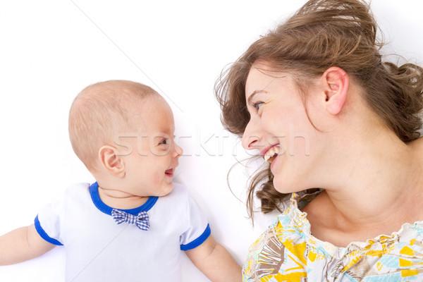 Moeder baby jongen liefde kind leven Stockfoto © manaemedia