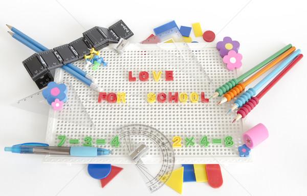 Liefde school tekst verschillend Stockfoto © manaemedia