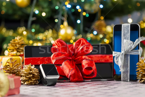 Tablet pc, smartphone and smartwatch for Christmas Stock photo © manaemedia