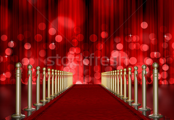 red carpet entrance with red Light Burst over curtain Stock photo © manaemedia