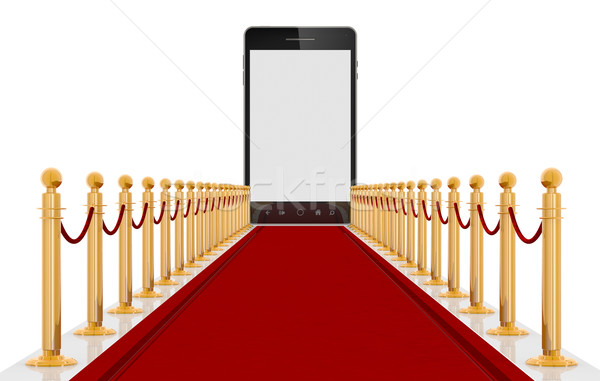 Smart phone on Red Cartpet Stock photo © manaemedia