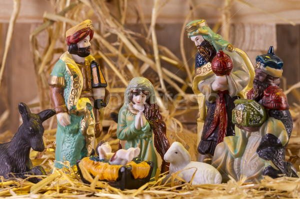 Christmas Manger scene with figurines  Stock photo © manaemedia