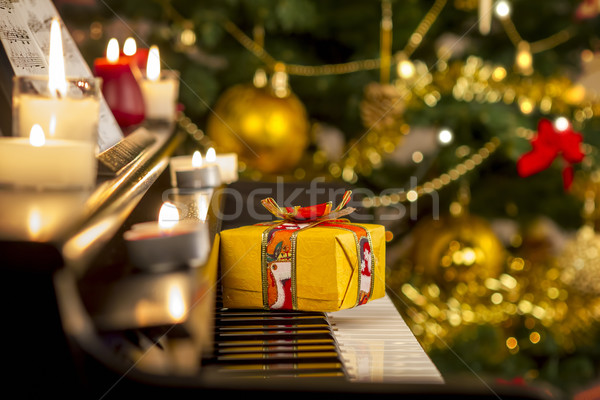 Christmas gift on piano Stock photo © manaemedia