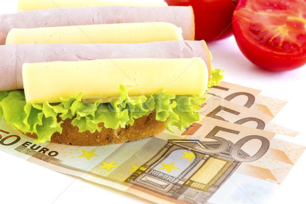 Fome dinheiro sanduíche papel financiar café da manhã Foto stock © manaemedia