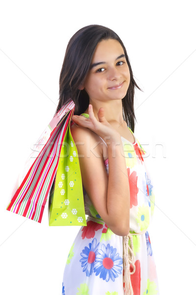 Heureux Shopping adolescent fille souriant Photo stock © manaemedia